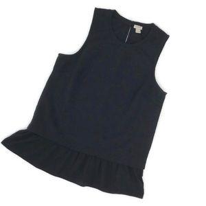 JCREW RUFFLE HEM Tank Top Shirt Black L